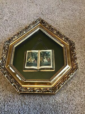 Ornate Gold Frane With Miniature Colonial Days Book On A Chain. Rare!