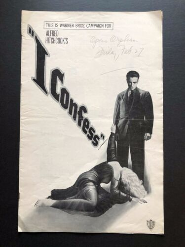 "I Confess Original Movie Pressbook (Hitchcock, 1953) - 18 Pages - 11"" x 17""  VG"