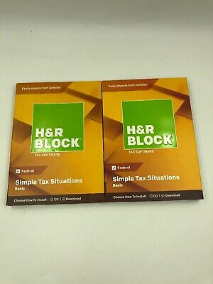 2 H&R Block Basic 2018 Simple Tax Solutions Software CD/Download Federal New ✅ (Tax Software Download)