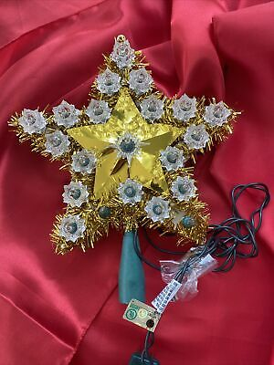 """Old fashion tree topper gold 8"""" Star white lights With Extra Bulbs"""