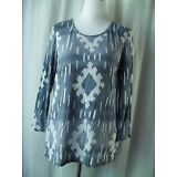 Weekends By Chico's Top Size 1 Small Blue Gray White Print