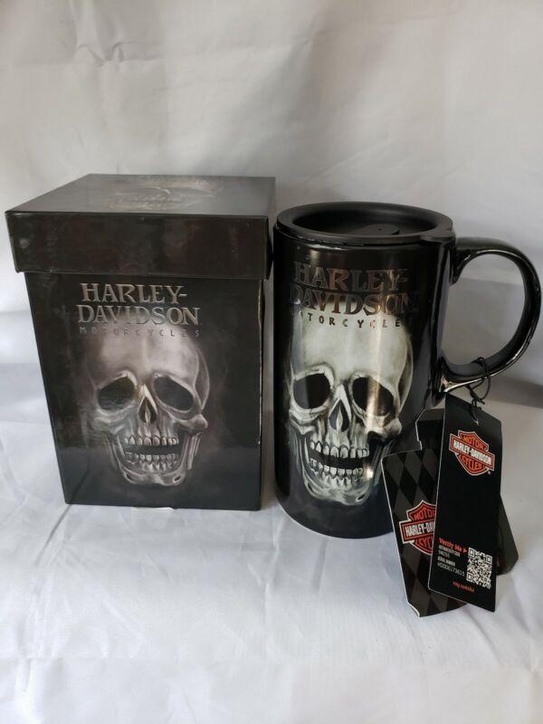 Harley-Davidson Motorcycles Large Tall Boy Skull 20oz Ceramic Coffee Cup W Box
