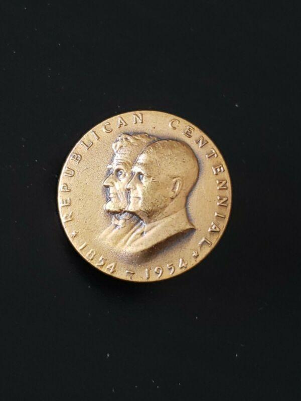 """RARE VINTAGE BRASS LAPEL PIN """"REPUBLICAN CENTENNIAL 1854 - 1954"""""""