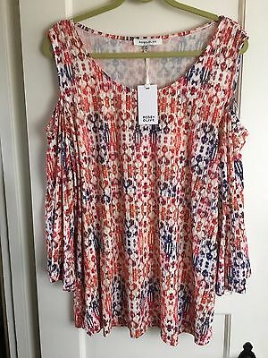 NWT Rose & Olive Printed 3/4 Sleeves Tunic Knit Top Plus Sz 3X Cold Shoulder