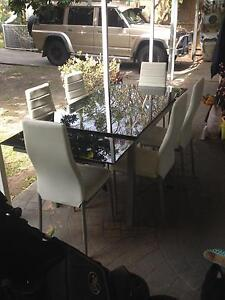 Black glass top extendable dining table Byron Bay Byron Area Preview