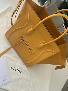 AUTHENTIC Céline Yellow Leather Hand Bag CHANEL LV