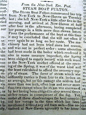 1815 newspaper w long detailed description of  TRIP on an Early FULTON STEAMBOAT