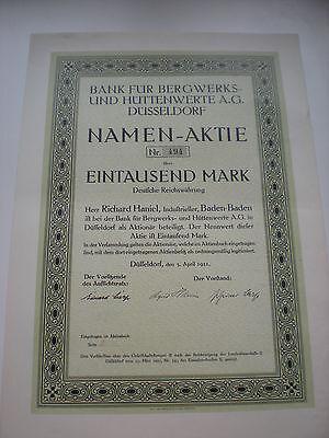 Deutschland - Bank für Bergwerks- u. Hüttenwerte AG   1/353  Ü