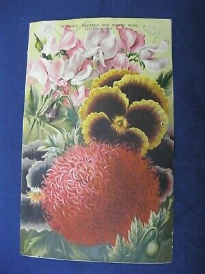 RARE Victorian Trade Card Burpee Seed Fordhook Fashion Pansy Poppy Sweet Pea R