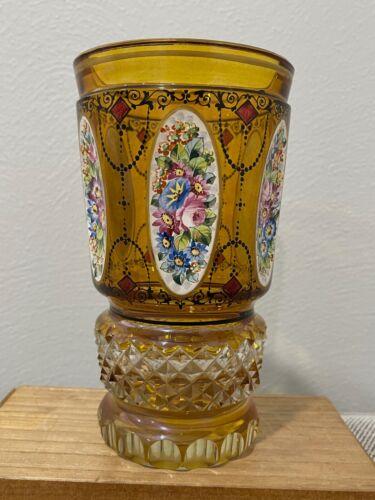 Vintage Antique Bohemian Glass Vase w/ Enamel Painted Flowers Decoration