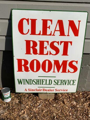 """SINCLAIR CLEAN REST ROOMS"" LARGE, HEAVY PORCELAIN SIGN (38""x 30"") NEAR COND."