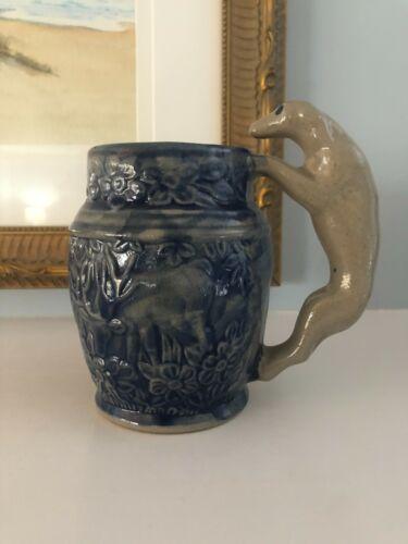 Beaumont Bros Pottery Salt Glaze Stoneware Dog Handle/Deer Mug/Stein~1990