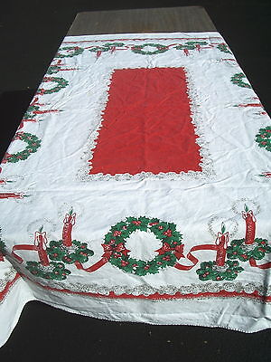 "Christmas Tablecloth  Vintage 1950 Printed Cotton White Wreaths Candle  62""x 47"""