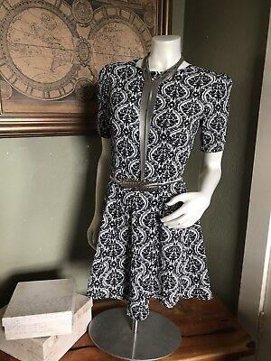 - Vintage Art Deco Floral Upholstery Print Circle Dress Size 6