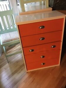 Orange and white small dresser - available
