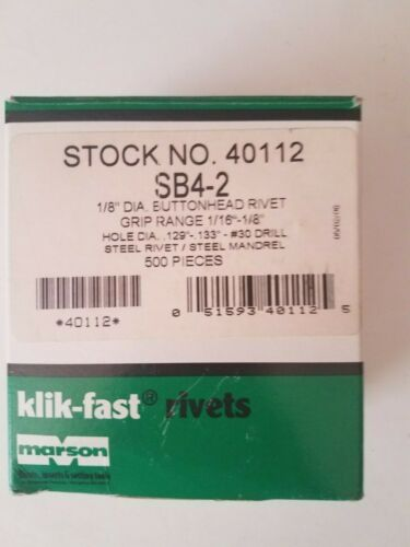 "Marson SB4-2 Klik-fast Rivets 1/16""-1/8"" Grip Range Steel Rivet & Mandrel 500pcs"