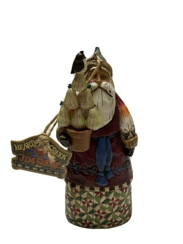 "Jim Shore Heartwood Creek 6"" Santa Claus Ornament Figure W/ Fruit & Bird B107458"