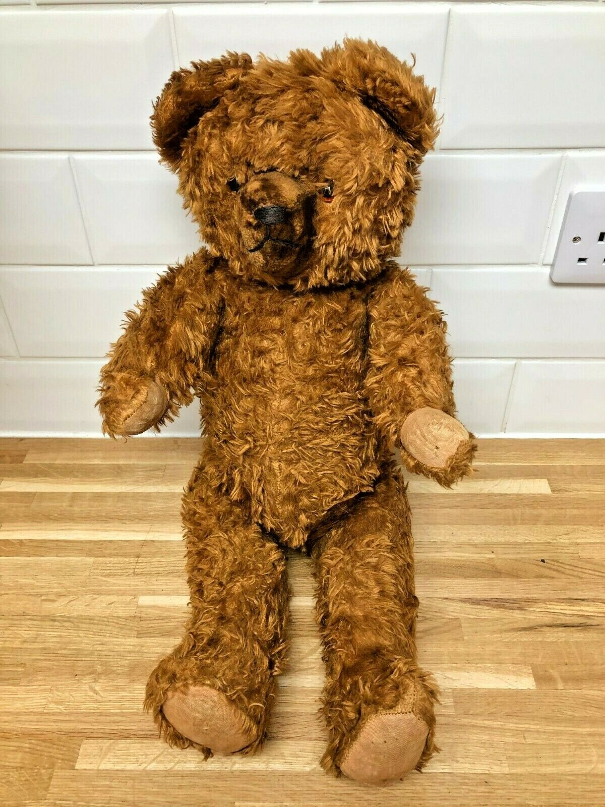Vintage 1950s Straw Filled Jointed TEDDY BEAR - 24