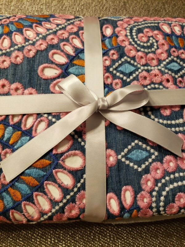NEW Pottery Barn Kids Baby Embroidered Crib Bed Skirt Pink~ Blue GORGEOUS!