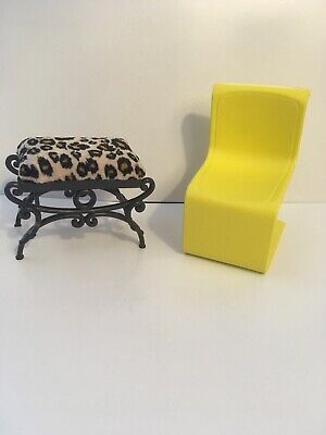 Barbie Furniture 1973 Yellow Chair And A Lepard Bench