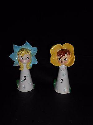 Vintage Pixieware Flower Girl Salt Pepper Shakers Lipper & Mann Anthropomorphic