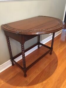 Antique Console Table - Drop Leaf - Walnut Carved Top