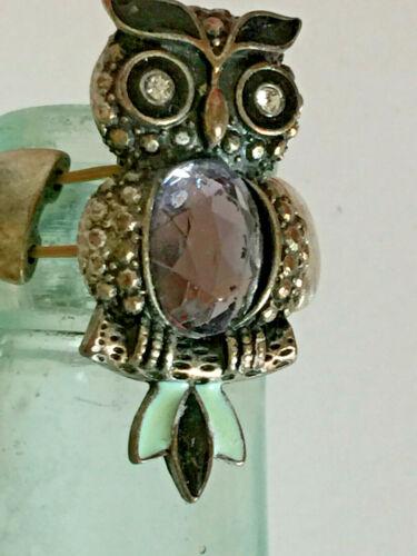Vintage Large Owl Ring Gold tone with Rhinestones Enamel Stretch Ring Band