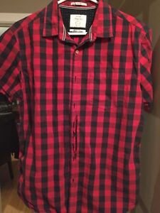 Red plaid collar short sleeve