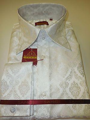 Collar White Shirt - Mens White Damask High Collar French Cuff Designer Jacquard Shirt SANGI 1011