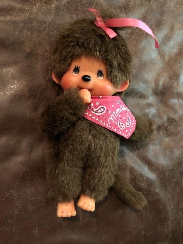 "8"" Girl Sekiguchi Monchhichi Dolls Pink Bow & Bandana Plush"