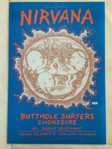 Original Nirvana 3D Concert Poster from New Year