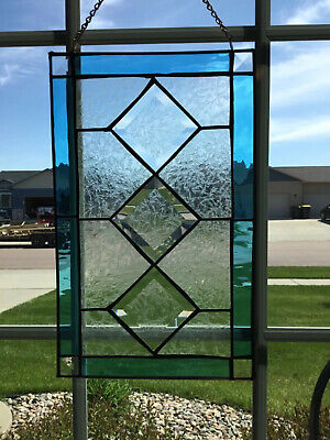 VINTAGE ETCHED STAINED GLASS PANEL clear blue window hanging  Vintage Stained Glass