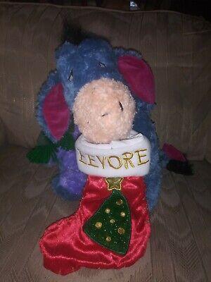 "Disney Store Eeyore W Christmas Stocking 13"" Plush Stuffed Animal Xmas Green..."