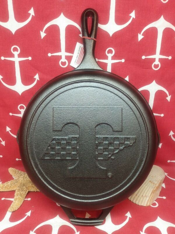 """#8  10 1/4"""" LODGE CAST IRON SKILLET ADVERTISING TENNESSEE STATE"""