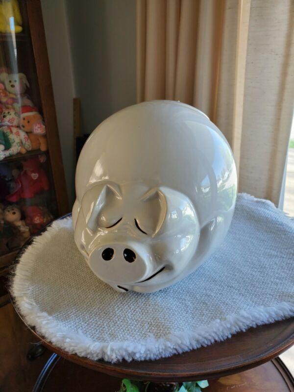 Vintage White Happy Sleeping Pig Cookie Jar