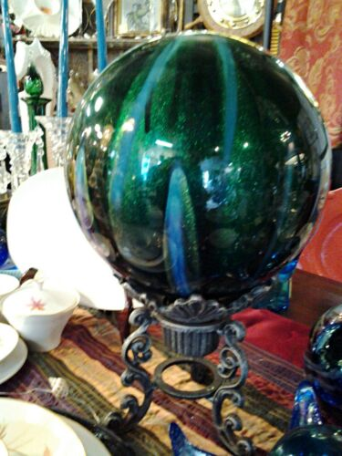 "Spectacular Artisan Blown Glass Gazing Ball and Stand 17"" Tall"
