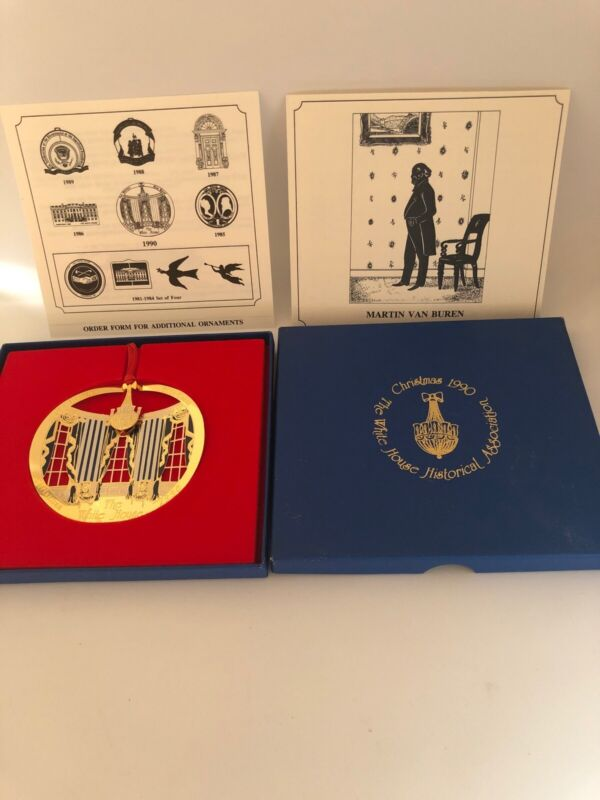1990 White House Historical Association Christmas Ornament w Box & Papers