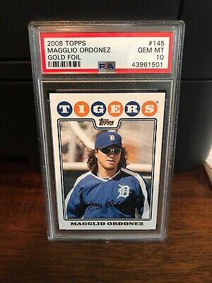 2008 Topps GOLD FOIL Magglio Ordonez Baseball Card #145 PSA 10 Gem Mint POP 3 3 Stone Gold Foil