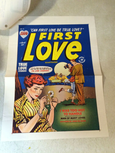 FIRST LOVE #8 COVER ART original cover proof 1949 w/PRINTER INVOICE, RARE!!