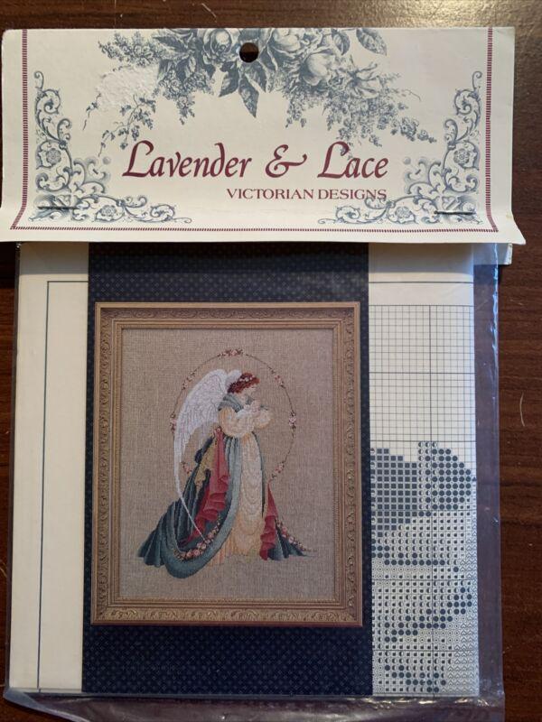 "1992 Lavender & Lace Victorian Designs Cross Stitch Leaflet ""Guardian Angel"""