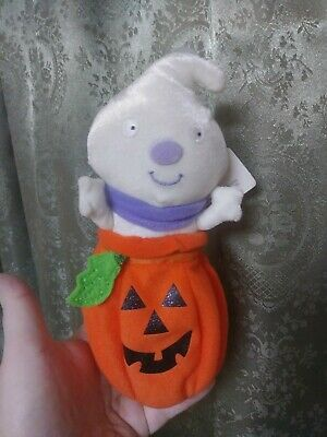 Vintage Hallmark Halloween Decoration Tag ZipperPouch Rare Ghost jack-o'-lantern