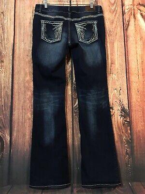 Dark Denim Flare Jeans (Maurice Straight Flare Jeans Dark Wash Denim Flex Bling Sz 9/10 LONG (23 X 35))
