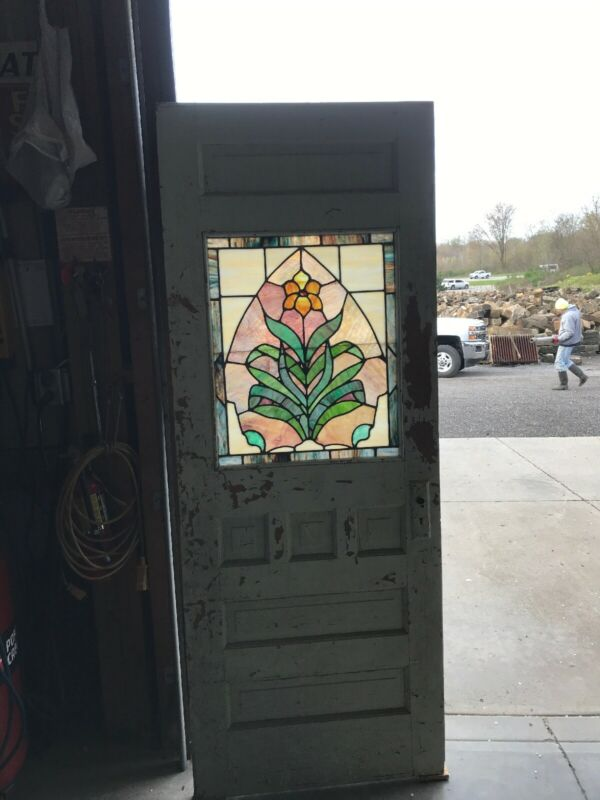 An536 Antique Stained Glass Door 29.75 X 77 5/8