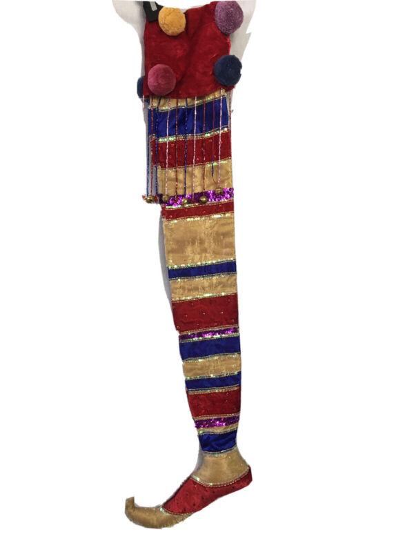 """HTF Wayne Kleski Large Christmas Elf Shoe Stocking 32"""" Sequin Red Blue Velvet"""