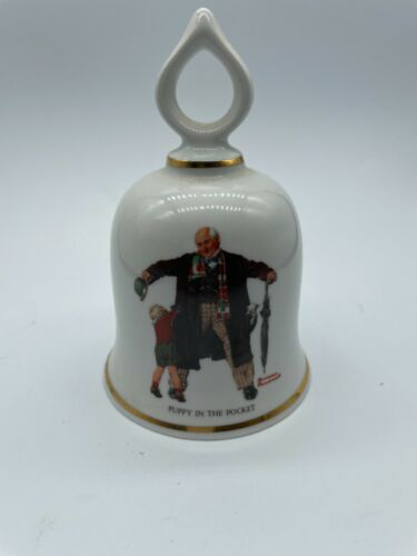 Norman Rockwell Porcelain Bell - Puppy in the Pocket - Danbury Mint 1979