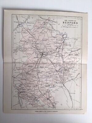 County Of BEDFORD, England, 1884 Original Antique Map, George Philip, Atlas