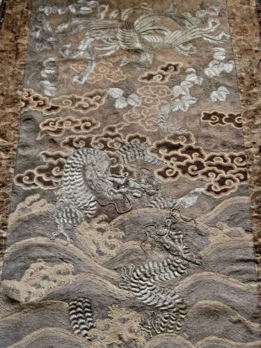 ANTIQUE CIRCA1890s JAPANESE MEIJI PERIOD EMBROIDERED PHOENIX & DRAGONS TAPESTRY