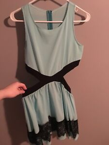PRICE DROP Baby blue and black lace sexy night/prom dress