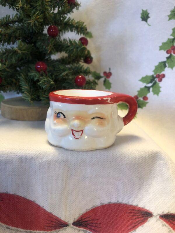 """Vintage Winking Santa Mini Ceramic Mug 1 1/2"""" Holt Howard Japan"""