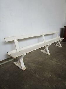 D7067 Large 3m Vintage White Timber Bench Seat Pew Mount Barker Mount Barker Area Preview
